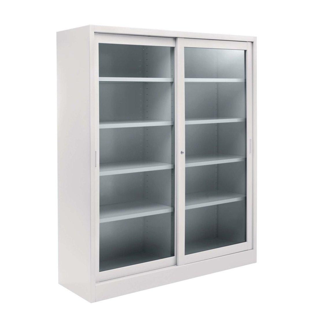 Armadio con ante scorrevoli in vetro temperato cm for Armadio ufficio con chiave